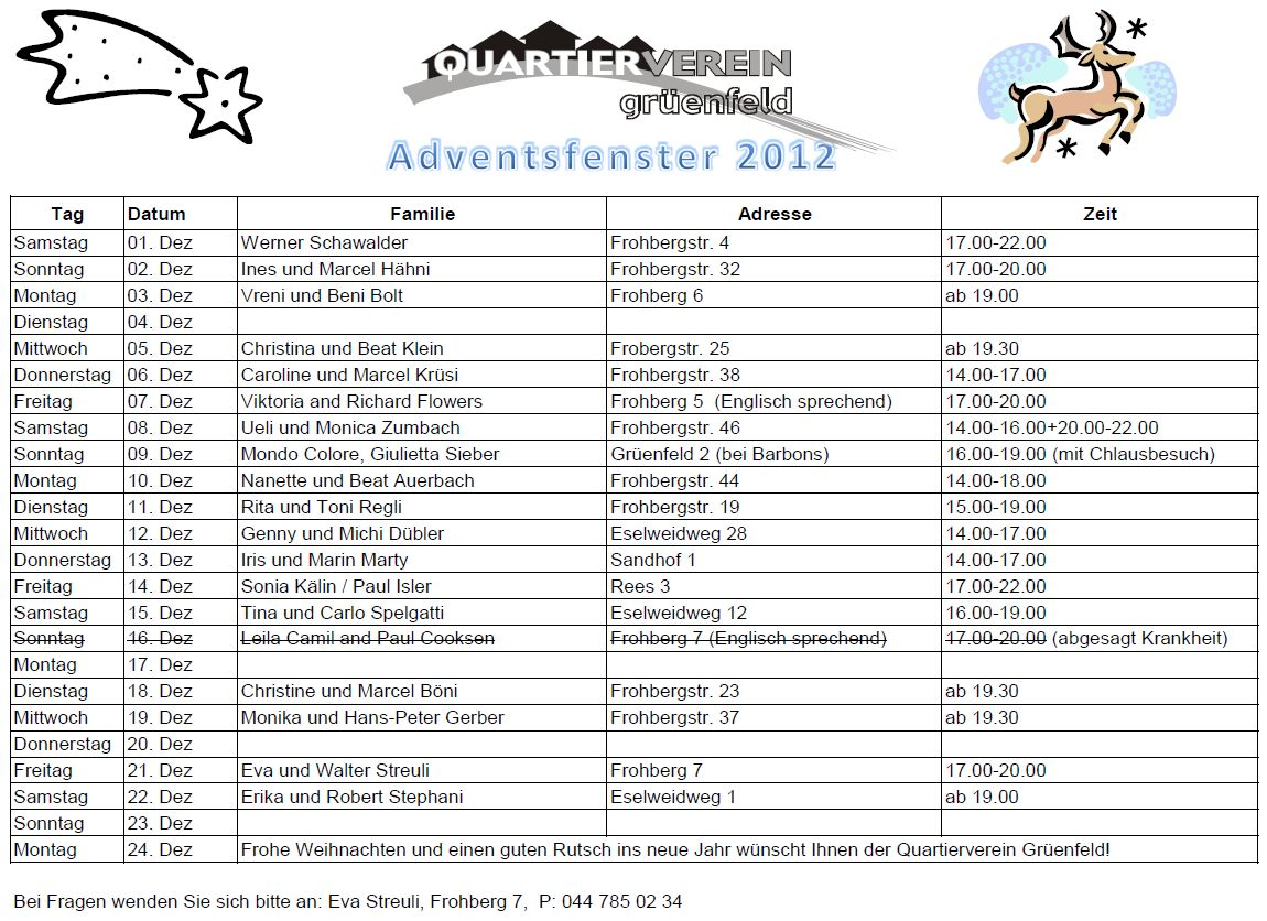 Kalender Adventsfenster 2012